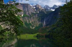An poster sized print, approx (other products available) - Obersee is a mountain lake in Bertchesgaden National Park the waterfall in background is the RA¶thbachfall - Image supplied by Australian Views - Poster printed in the USA Poster Prints, Framed Prints, Bavaria Germany, Work Travel, Photo Mugs, Places To See, Beautiful Places, National Parks, Landscape