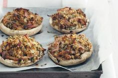 Bacon and Haloumi Stuffed Mushrooms
