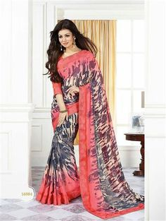 Star Walk - 16984 - Pink and Multicolor Casual Georgette Saree