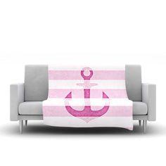"Monika Strigel ""Stone Vintage Pink Anchor"" Fleece Throw Blanket"