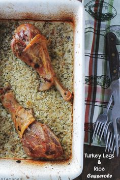Turkey Legs and Rice Casserole is on the healthier side. Use brown rice or quinoa for whole grain goodness in this turkey casserole recipe. Turkey Recipes, Dinner Recipes, Duck Recipes, Turkey Tetrazzini, Baked Rice, Turkey Legs, Cooking Recipes, Healthy Recipes, Game