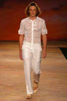 Camisa masculina em renda renascença Eduardo Ferreira