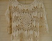 Gypsy Boho Clothing Woman Tunic Crochet Top Summer Beach Cover up Hairpin Crochet Pattern