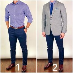 Which outfit do you like better❓ 1 - casual and classic❓ Or 2 - dress it up with a blazer and tie❓🤔 or ___________________________________________________ Shoes: Brando Semi-Brogue in Oxblood Belt: Shirt, pants, blazer, and tie: Blue Blazer Outfit, Blazer Outfits Men, Blazer Fashion, Mens Fashion, Pants Outfit, Stylish Men, Men Casual, Mode Costume, Business Casual Attire