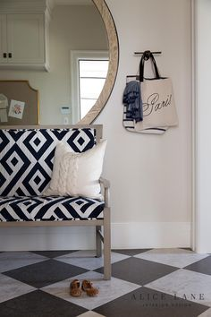 Classic checkered floors in the mudroom of the French Moderne Manor - Alice Lane Interior Design French Interior Design, Luxury Interior Design, Interior Decorating, Interior Modern, Design Entrée, House Design, Design Ideas, Alice Lane Home, Condo Living Room