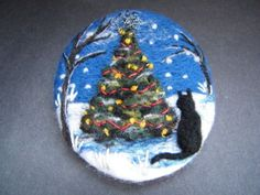 Handmade-needle-felted-brooch-039-Scaredy-and-the-Christmas-Tree-039-by-Tracey-Dunn