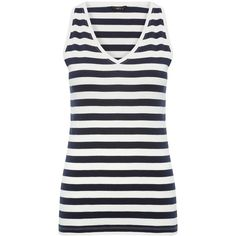 M&Co Striped V Neck Vest Top ($7.65) ❤ liked on Polyvore featuring tops, white, striped tank top, stripe tank, striped tank, white v neck tank and stripe top