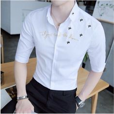 2017 Spring Summer Features Shirts Men Casual Cotton Shirts New Arrival 7 Minutes ofSleeve Small New Casual Slim Fit Male Shirts Preppy Mens Fashion, Mens Fashion Suits, Teen Fashion Outfits, Stylish Shirts, Casual Shirts, Gucci Shirts Men, Mens Party Wear, Navy Blue Dress Shirt, Mens Indian Wear