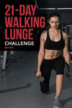 Our 21-Day Walking Lunge Challenge will start with a lot of shaky leg movements but will leave you with strong and sculpted legs by the end. Lunge Challenge, Workout Challenge, Dumbbell Workout, Leg Workouts, Exercises, Body Transformation Program, Weight Loss Menu, Tommy Hilfiger, Ripped Body