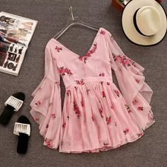 V-neck Flare Sleeve Flower Short Ruched Mini Pink Chiffon Dress SE – deevybuy Clothes Stylish Dresses, Cute Dresses, Beautiful Dresses, Casual Dresses, Girls Dresses, Pink Dresses, Flower Dresses, Beautiful Shoes, Teen Fashion Outfits