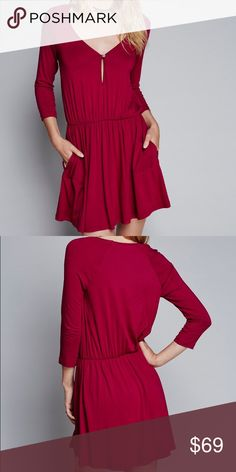 Free people red pocket dress XS This simple mini dress features a fit and flare shape and a super stretchy fabrication. Hidden side pockets create added comfort. Deep V-neckline with subtle buttoned cutout detail. Throw on top of a bikini or layer over one of our seamless styles for an effortless look. 🌷 *By FP Beach *95% Rayon *5% Spandex Free People Dresses Mini