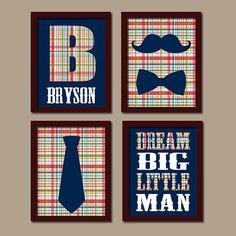 BABY BOY Nursery Wall Art Mustache Bow Tie Wall Art by TRMdesign