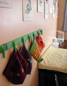 wool diaper cover drying rack Use for swimsuits or hats & mitts? Clothes Pegs, Cute Baby Clothes, Displaying Kids Artwork, Diaper Organization, Baby Number 2, Baby Mine, Cloth Pads, Diaper Covers, Everything Baby