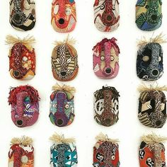 Shop our collection of beautiful textile African masks, handmade from upcycled containers and embellished with an assortment of local fabrics and other media by local artisans in Hout Bay, South Africa. African Masks, African Jewelry, Mask Making, Craft Stores, Kenya, Jewelry Crafts, Upcycle, Creatures, Textiles