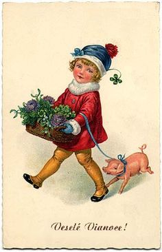 Historical Slovak Christmas cards - kid with flowers. Polish Christmas, Swedish Christmas, Victorian Christmas, Vintage Christmas, Christmas Images, Christmas And New Year, All Things Christmas, Kids Christmas, Vintage Cards