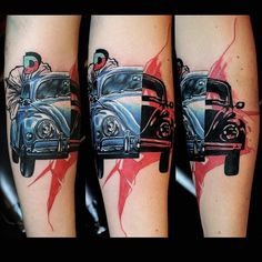 Two sides of a one vehicle creates the Inside Car Tattoo Trash Polka by Mirco is Dead. Vw Tattoo, Tattoo Trash, Car Tattoos, Trash Polka Tattoo, Loyalty Tattoo, Inside Car, Cool Tats, Tattoo Inspiration, Tatting