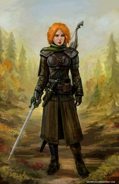 Here's the prize for who won a recent free art lottery. This D&D girl, Remini the Ranger is walking in a forest, about to swash some buckle! Tools: Mouse, Paint Shop Pro 7