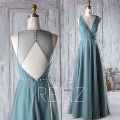 2016 Long Dusty Green Bridesmaid Dress Long, Mesh Wedding Dress with Beading, Open Back Evening Gown, A Line Prom Dress Floor Length (HS260)
