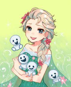 "Elsa from ""Frozen"" - Art by 小倉 ||| Disney, princess, queen, Frozen Fever"