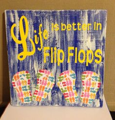 Life is better in Flip Flops, Summer, Distressed Wood, Blue, Wooden Sign by TheCreativeSign on Etsy