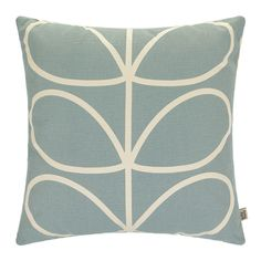 Add Orla Kiely's signature style to your home with this pretty Linear Stem cushion in duck egg. Featuring the iconic Stem print in cream on a duck egg blue background on the front and a duck egg blu