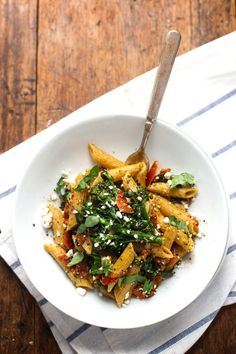 20 Minute Lemon Pesto Penne - baby broccoli, oven roasted tomatoes, pesto, fresh lemon, feta, and basil.  pinchofyum.com