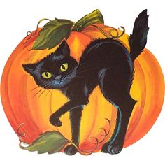 Hallmark Halloween Die Cut Decoration Black Cat Pumpkin