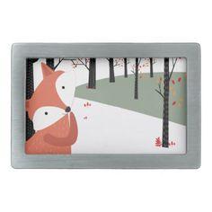 Vintage cute baby fox wolf smile happy in garden rectangular belt buckle - vintage gifts retro ideas cyo