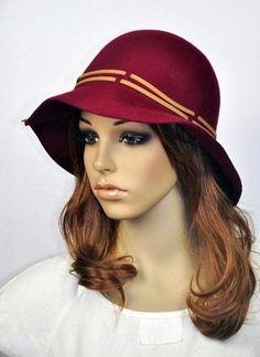 Chapéu vinho de lã