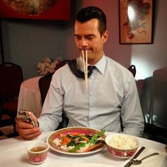 Pin for Later: The Sweetest and Silliest Celebrity Candids From 2014  Josh Duhamel showed off his silly side while eating Chinese food.  Source: Instagram user joshduhamel
