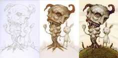 """""""Demon Tree"""" -step by step-  4 x 5.8 inches, acrylic on board, Naoto Hattori"""