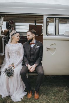 Bride in Katya Katya Shehurina Wedding Dress & Flower Crown - Married | Grace Elizabeth Photography | Katya Katya Shehurina Wedding Dress | Flower Crown | Boho Wedding | Outdoor Woodland Ceremony | The Tudor Barn, Warsop | Coffee Bar Camper Van