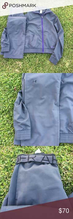 under armour wind suit Grey with purple Details. Like new. Jacket is small. Pants are extra small. No flaws. Under Armour Pants Track Pants & Joggers
