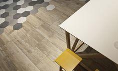 Evoque Series in Fresno colour and Art Series´ hexagonal decor in 3 colours.