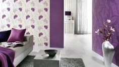 Two different walls with two different Wall Coverings with different pattern but same Colour Combinations in a Bedroom gives an Attractive & Classy look. Also gives an eye catching experience that everyone wants to be here.