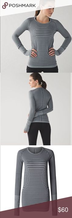 Lululemon Swiftly Tech Long Sleeve, 2 Gray Stripe EUC! No flaws, gray stripe 'Heathered Slate' Swiftly Tech LS Crew. This retailed for $78, long sold out! Must-have Lulu staple! I hate to sell this but I need a 4 😞  Will trade for similar LS Swiftly size 4! I am meticulous with my lulu care. Size tag still attached. See last photo for item description from lululemon. Please check my other listings for more lulu in sizes 2/4, I love to bundle! Feel free to ask questions, bundle to save…