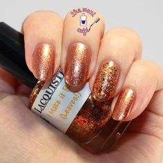 The Mani Café: OPI DS Glow & Lacquistry I Make it Rain (Leaves)
