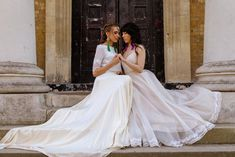 Two brides are better than one . Photo: Venue: Model: Hair stylist: Make up: Jewellery: Wedding dresses: Wedding Couples, Wedding Photos, Wedding Planner, Destination Wedding, Queen V, London Pride, Two Brides, Wedding Season, Luxury Wedding