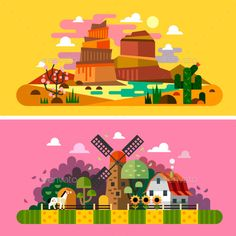 Village sunset landscapes: canyon, desert, cactus, mill, farm buildings, trees, field, bushes, hay. Landscapes of America, Wild We