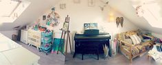 My creative space! Come visit my artist studio - Laly Mille, mixed media artist, studio tour, www.lalymille.com