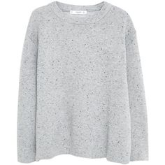 Mango Flecked Cotton Blend Sweater, Light Heather Grey (800 DOP) ❤ liked on Polyvore featuring tops, sweaters, shirts, jumpers, long sleeve shirts, long sleeve sweater, mango shirts, textured sweater and round neck shirt
