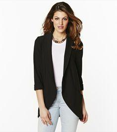 Jeans, white t shirt, black blazer.