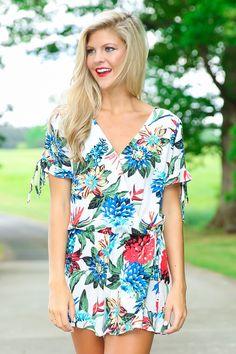 Hot Tropics White Print Romper at reddressboutique.com