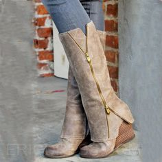 High-class Wedge Knee-High Boots with Zipper High Heel Boots