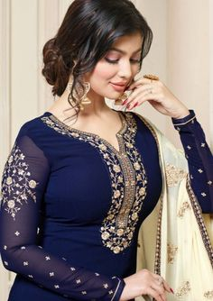 Pakistani Indian Branded Salwar Kameez Suits With Embroidery Work Anarkali Pakistani Outfits, Indian Outfits, Lovely Dresses, Stylish Dresses, Frock Fashion, Salwar Kameez, Patiala, Churidar, Most Beautiful Indian Actress
