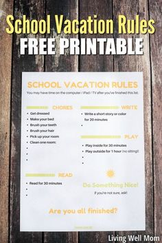 Tired of the chaos during school break? Try this School Vacation Rules list. (Download your free printable now & customize it!) It will help save everyone's sanity, especially yours, Mom!