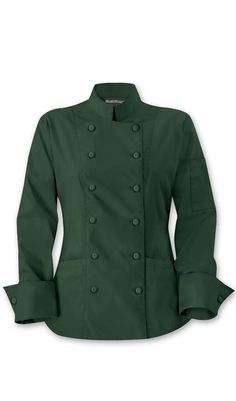 colored chef coat. green or midnight blue would be fun