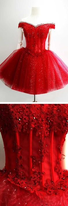 Gorgeous Ball Gown Off-the-shoulder Lace Up Short Red Tulle Homecoming Dresses With Beaded Appliques Dresses Short, Dressy Dresses, Cute Dresses, Red Ball Gowns, Ball Dresses, Prom Dresses, Red Fashion, Women's Fashion Dresses, Vintage Homecoming Dresses