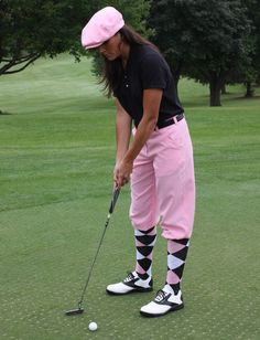 Golf Knickers - Stylish golf attire! Pink white black socks knickers pants