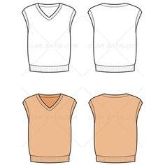 Men's Knit Sweater Vest Fashion Flat Template